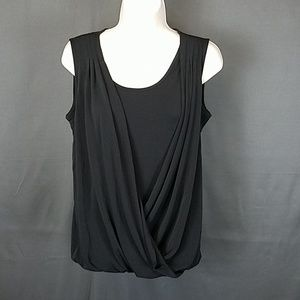 3 for $10- Small black faux wrap Blouse